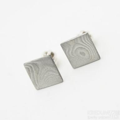 Quatro mini - Kované damasteel náušnice, SK2893