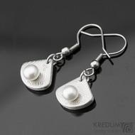 Kované damasteel naušnice a perly - Raníčky - dřevo + háček nerez