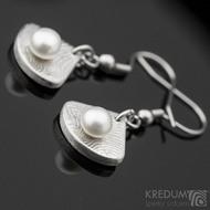 Kované damasteel naušnice a perly - Raníčky - dřevo + háček