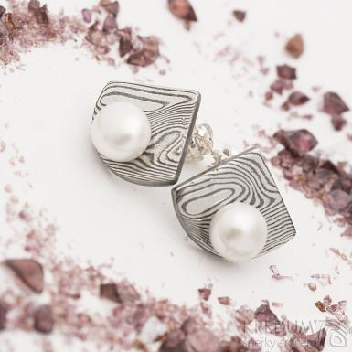 Raníčky - dřevo, tmavé - Kované damasteel náušnice a perly