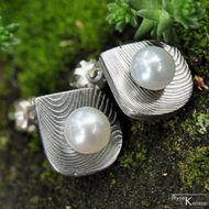 Kované damasteel naušnice a perly - Raníčky - čárky