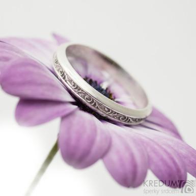 Retro snubní prsten 3 Flóra  stříbro