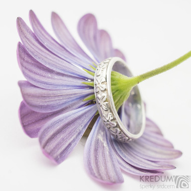 Retro snubní prsten 5 Jetel stříbro