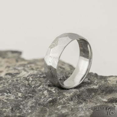 Rocksteel - 61, šířka 7 mm,  tloušťka střední, dřevo lept 75% SV - Damasteel snubní prsteny - k 2123 (3)