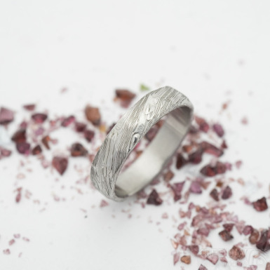Rocksteel - damasteel prsten voda - vel 55 šířka 4,5 mm lept 75 sv
