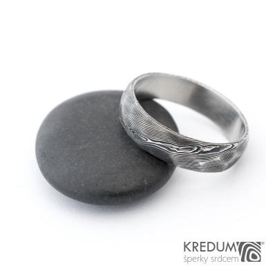 Rocksteel dřevo - Snubní prsten damasteel, SK1357