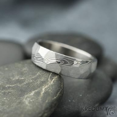 Rocksteel dřevo, světlý- velikost 58, šířka 6 mm, tloušťka 1,6 mm - Damasteel snubní prsteny - sk2115 (5)