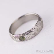 Rocksteel a kámen natura - Snubní prsten z oceli damasteel