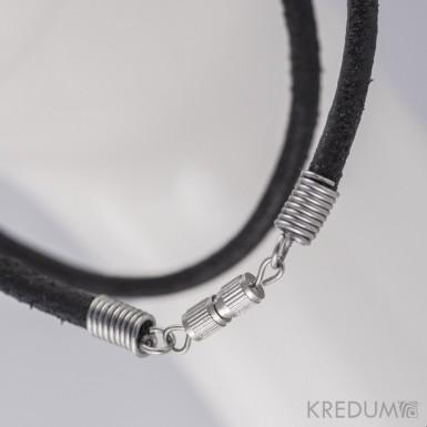 Kulatá kožená šňůrka 3 mm s nerezovým zapínáním - šroubovací