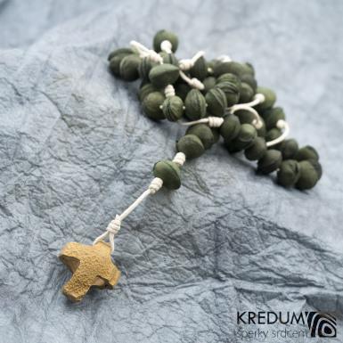 Peckový růženec - zelený/bílý