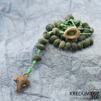 Peckový růženec - zelený/zelený