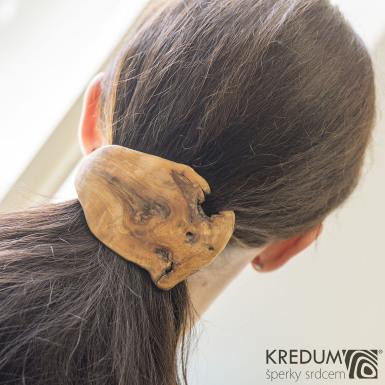 Jabloňová - Ručně vyrobená dřevěná spona, produkt SK1009