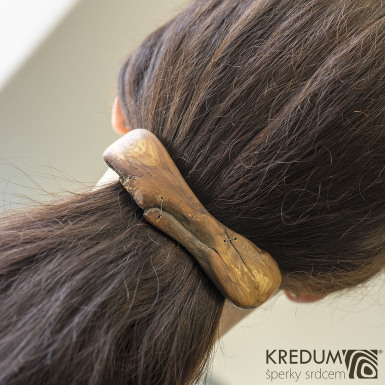 Jabloňová - Ručně vyrobená dřevěná spona, produkt č. 1010