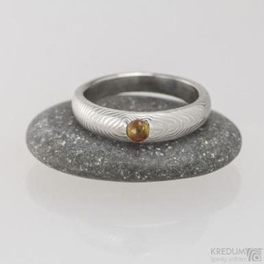 Prima a jantar, čárky - Snubní prsten nerezová ocel damasteel, S1490