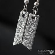 Klimb - kované damasteel náušnice - struktura kolečka, zatmavené