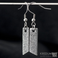 Klimb - kované damasteel náušnice - struktura kolečka, zatmavené - zavěšené na háček