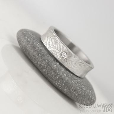 Collium a diamant 1,7 mm, dřevo - Kovaný snubní prsten z oceli damasteel, S1642