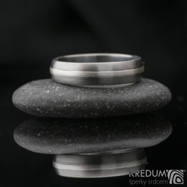 Duori Silver - snubní prsten z nerezové oceli a stříbrem