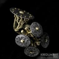 Baobab Golden - manžetové knoflíčky damasteel a zlato, produkt č. 2186