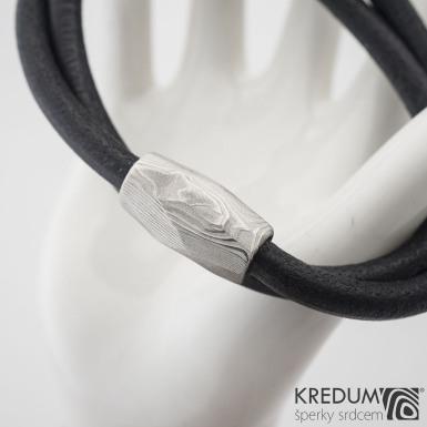 Samuel náhrdelník černý - Damasteel korálek, SK1206