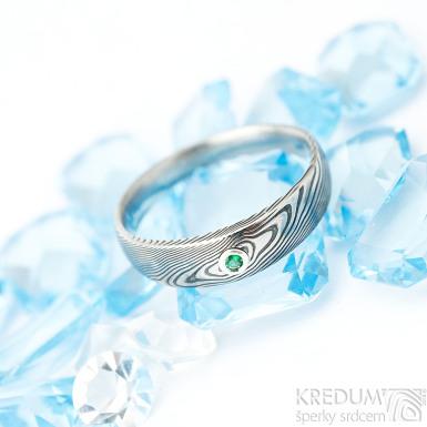 Siona a smaragd 2 mm do Ag - vel 56, šířka hlavy 5 mm, do dlaně 3 mm, E, dřevo, lept 75% TM - Damasteel snubní prsteny - K 1509 (3)