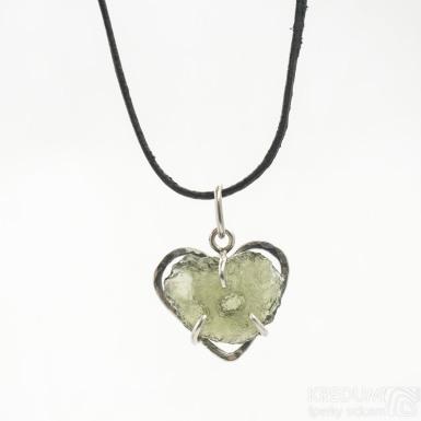 Srdíčko a vltavín - Stříbrný přívěsek, SK3389