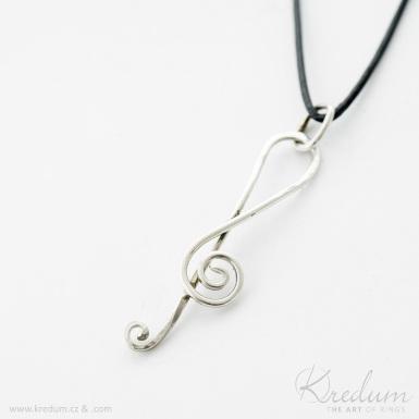 Houslový klíč - stříbrný přívěsek - SK4377