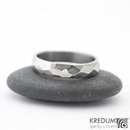 Skalák titan a  diamant 1,5 mm - vel 54, šířka 4,2 mm tloušťka 1,6 mm, lesklý - Titanový snubní prsten - sk1430