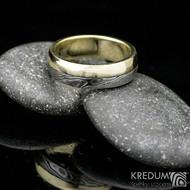 Columba yellow - Zlatý snubní prsten a damasteel, dřevo