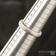 Snubní prsten damasteel struktura voda, velikost 59, šířka 3,5 mm, lept 75% světlý, profil B