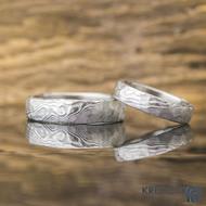Snubní prsten nerezová ocel damasteel - Natura white - dřevo - šířky 4 mm a 5 mm