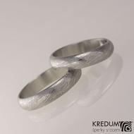 Prima - snubní prsteny damasteel, struktura voda, lept 50%