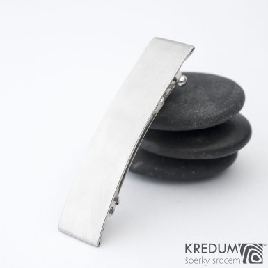 Linka klasik lesklá - základ 5 cm, šíře 1,2 cm - Nerezová spona do vlasů
