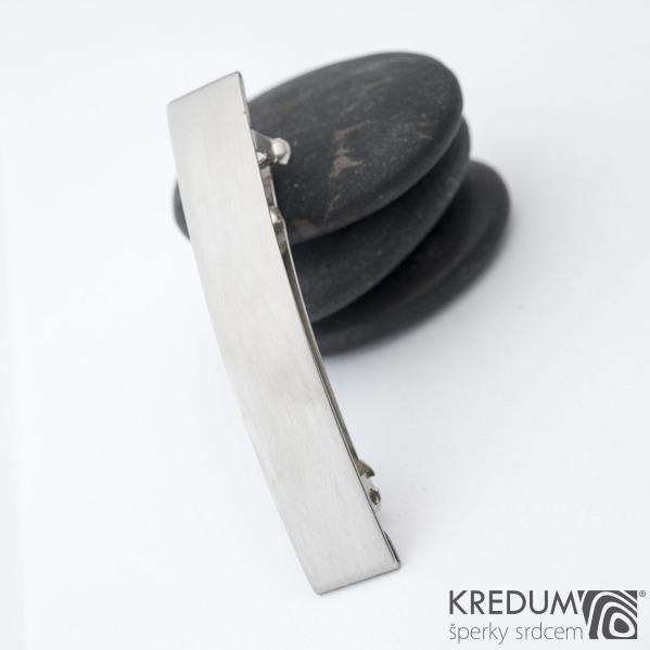Linka klasik matná - základ 5 cm, šíře 9 mm - Nerezová spona do vlasů