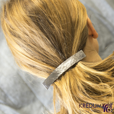 Linka draill tmavá - základ 10 cm, šíře 1,6 cm - Nerezová spona do vlasů