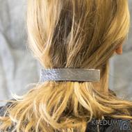 Tepaná Linka černá - základ 10 cm, šíře 2 cm - Nerezová spona do vlasů