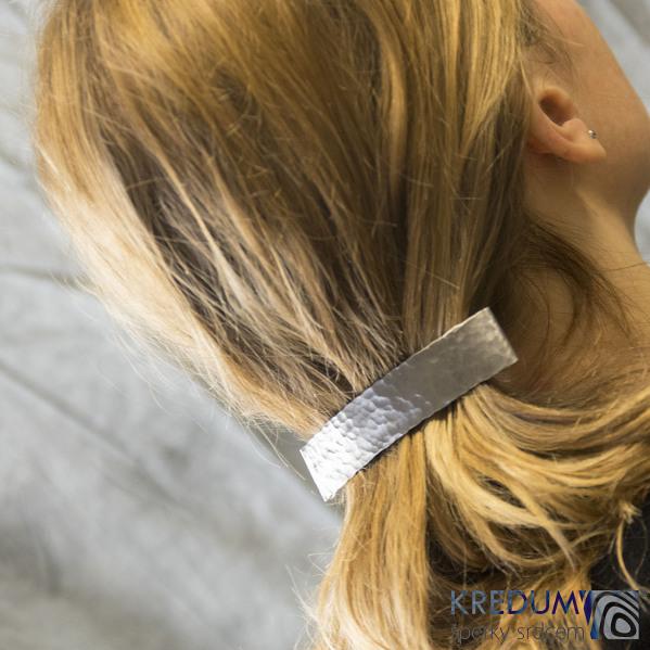 Tepaná Linka matná - základ 10 cm, šíře 2 cm - Nerezová spona do vlasů
