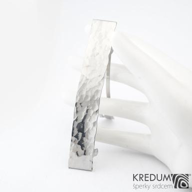 Linka draill lesklá - základ 8 cm, šíře 1,2 cm - Nerezová spona do vlasů