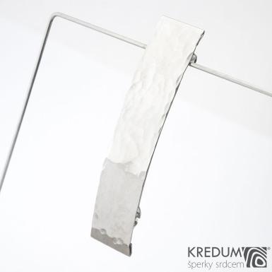 Linka draill lesklá - základ 8 cm, šíře 1,6 cm - Nerezová spona do vlasů