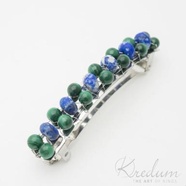 Perlová linka - Spona s Malachit a Lapis lazuli, 2 řady - 8 cm - SK3812