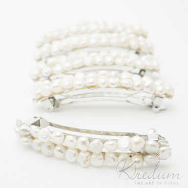 Perlová linka - Spona s pravými perlami, 2 řady - 8 cm