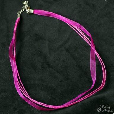 Kombinovaná textilní šňůrka bižuterní - fialová