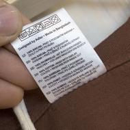 Život je pecka - bavlněné tričko hnědé - štítek produktu