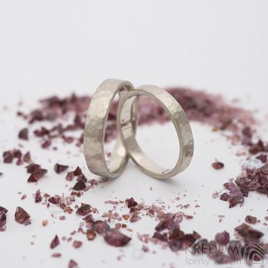 Zlaté snubní prsteny Golden draill white - šířky 3,5 a 4,3 mm, povrch matný - k 2764