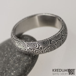 5 kolečka 100%, damasteel snubní prsten, struktura